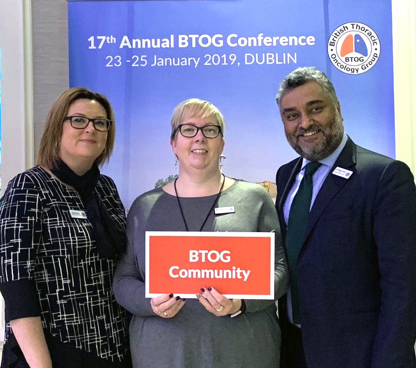 Some of the BTOG Team at the 2019 Annual Conference: Dr Sanjay Popat, Dawn Mckinley and Gina Stevens.