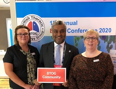 Some of the BTOG Team at the 2020 Annual Conference: Professor Sanjay Popat, Dawn Mckinley and Gina Stevens.