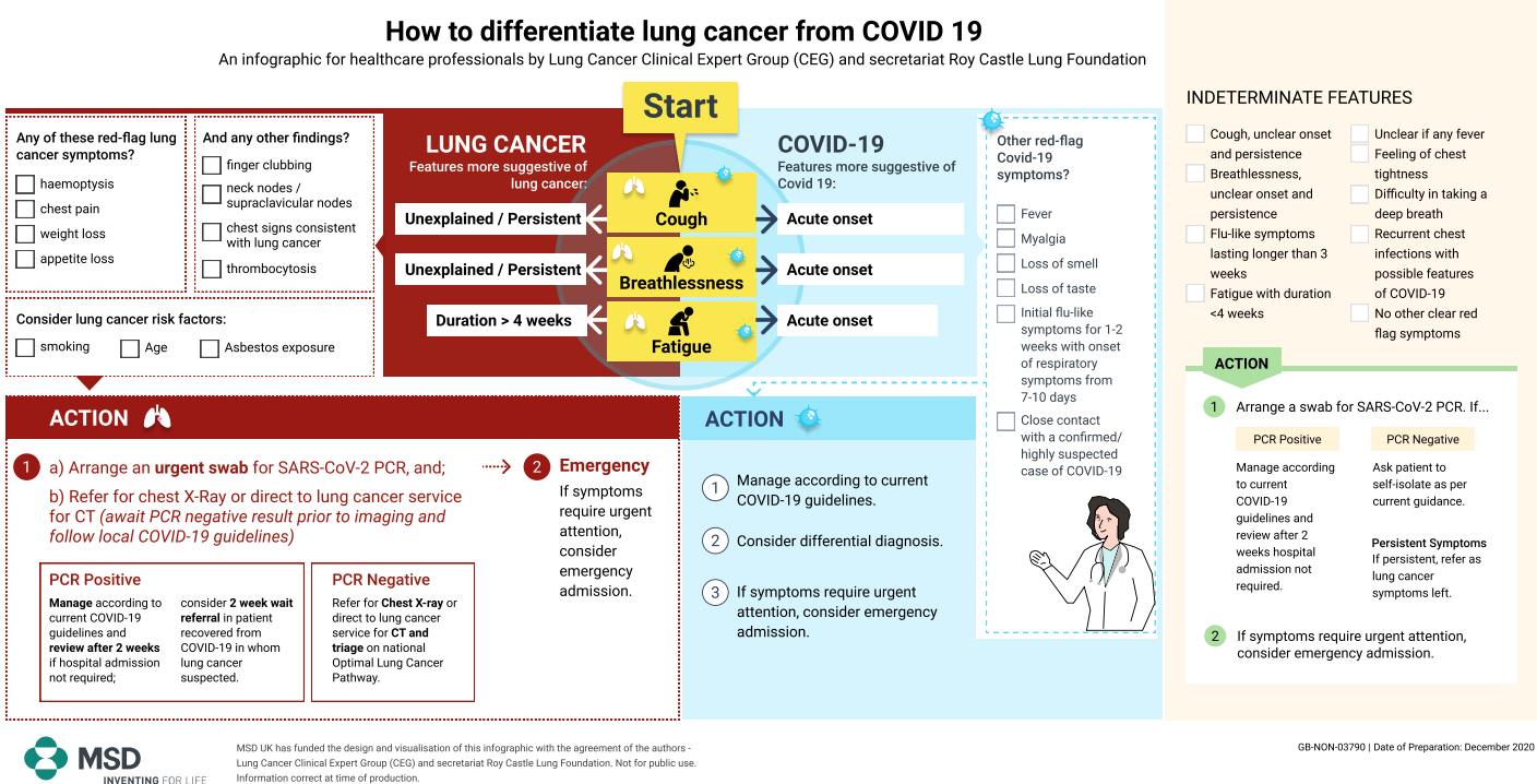 An infographic for healthcare professionals by Lung Clinical Expert Group (CEG) and secretariat Roy Castle Lung Foundation (click to download the PDF)
